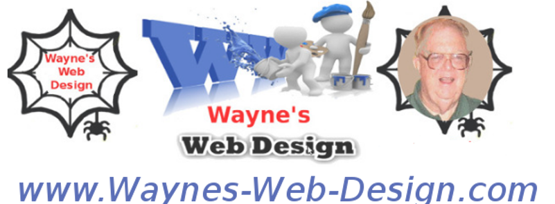 "Logo, text ""Wayne's Web Design"". and picture of me in a spider web. Big text with www.Waynes-Web-Desifn.com the web address of this site"