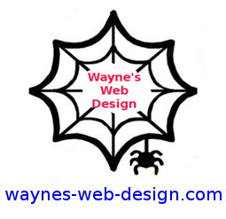 Logo for site is avcspifervb werb with words Wayne's Web Design in center
